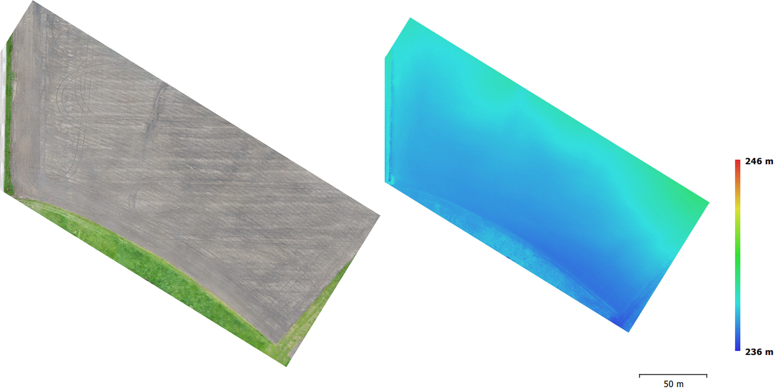 Stitched visual RGB imagery (left) and digital elevation map (DEM, right).  The data shows sub-cm resolved DEM.