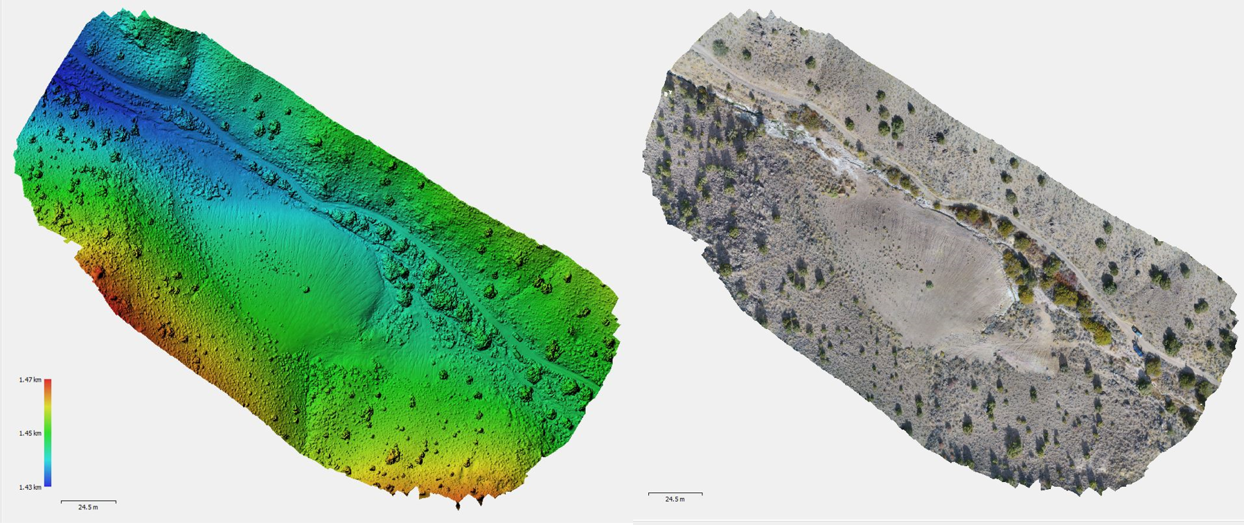 Digital elevation model (left) and RGB image (right) of Perry Canyon study site