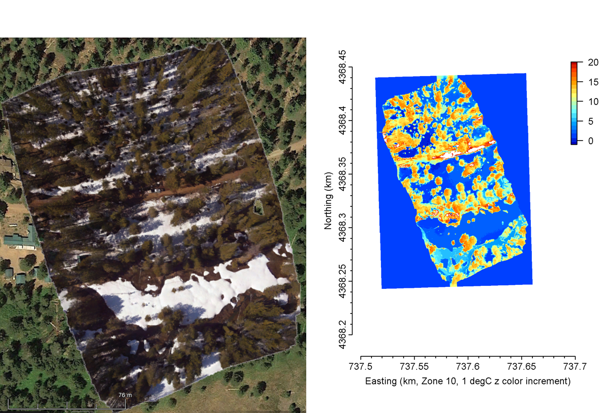 Stitched visual imagery overlaid in Google Earth Pro (left) and thermal imagery (right).  NA values were denoted as zero.  Warm areas correspond with tree and bare ground.