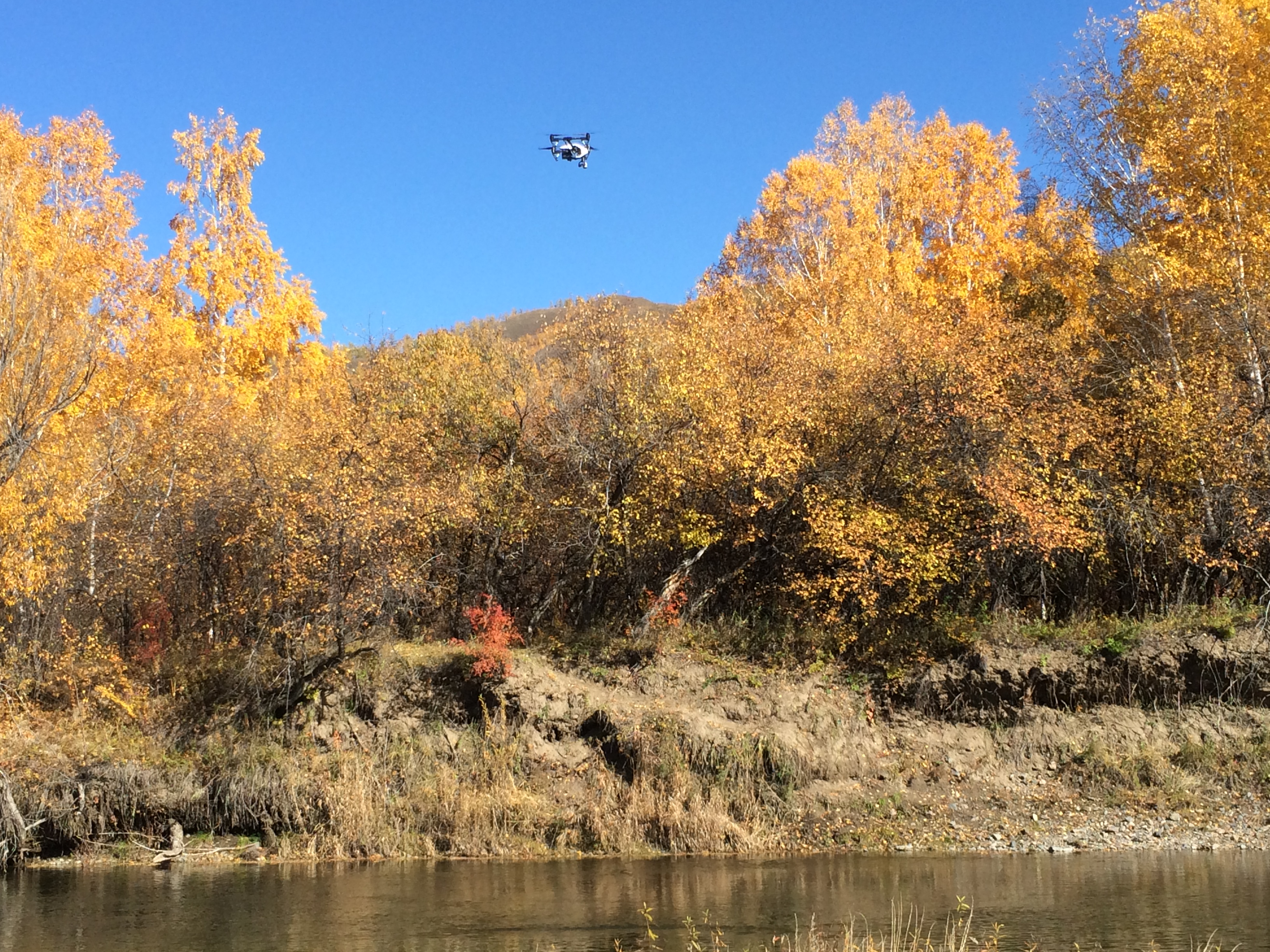 Drone over Eg River in Mongolia