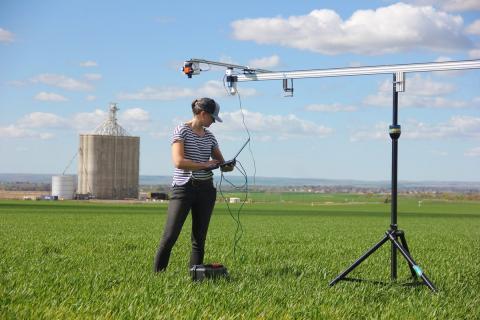 Marja Haagsma utilizes a rail mounted Hyperspectral camera in wheat fields near Pendelton (photo by Elizabeth Jachens)